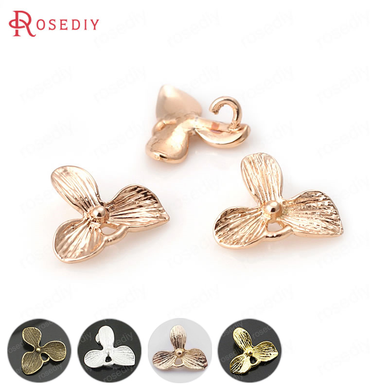 (31797)10PCS 11*10MM 16*18MM Brass Flower Earrings Connector Charms Pendants Diy Jewelry Findings Accessories Wholesale