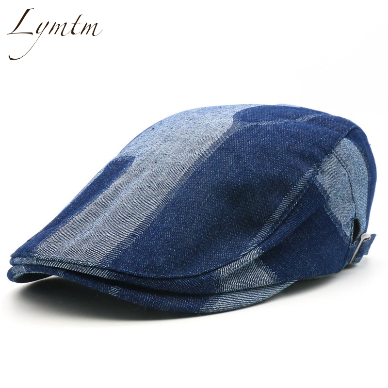 [Lymtm] Men Retro Washed Denim Berets Male Navy Blue Patchwork Golf Driving Adjustable Flat Cap Boina 2 Colors