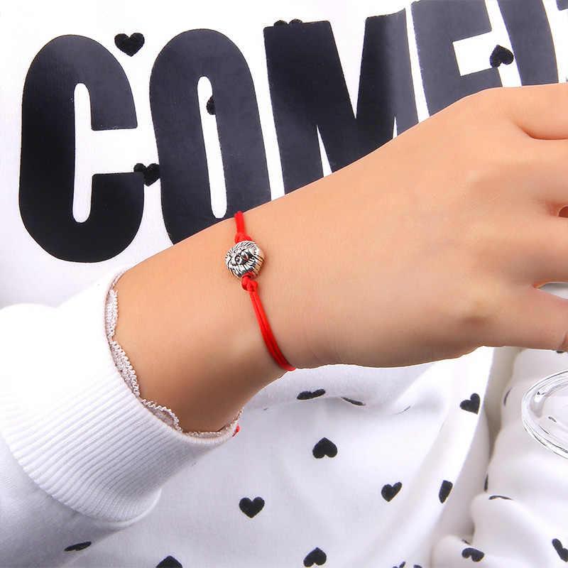Золото серебро голова дракона браслет ювелирные украшения ручной работы Красный Веревка Регулируемый строка Lucky браслет для женщин мужчин детей