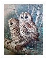 Owls On Tree Diamond Embroidery 5D Painting Cross Stitch Mosaic Pattern Square Rhinestone Needlework Gift Home