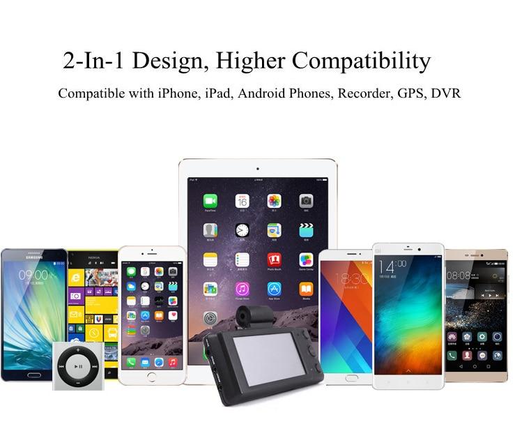 KONSMART 2.1A Dual USB Smart Car Charger For iPhone 6 7 8 For Xiaomi - Reservdelar och tillbehör för mobiltelefoner - Foto 5
