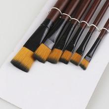 6Pcs/Set Acrylic Watercolor Supplies Oil Paint Brushes For Art Artist Brushes Pens Painter Students Acrylic Nylon Paint Brushes