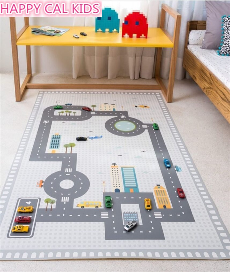 INS Highway Game Mat Kids Activity Play Gym Mats Cartoon Printing Children Infant Adventure Rug Road