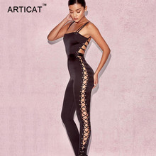 Articat Sexy Hollow Out Bandage Jumpsuit Women Rompers 2017 Elegant Strapless Backless Lace Up Bodycon Bodysuit Party Overalls(China)