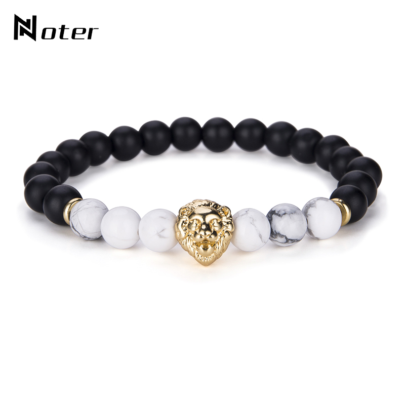 Noter Natural Stone Beads Lion Bracelet Black White Stone Handmade Elastic Braslet For Mens Hand Jewelry Accessories