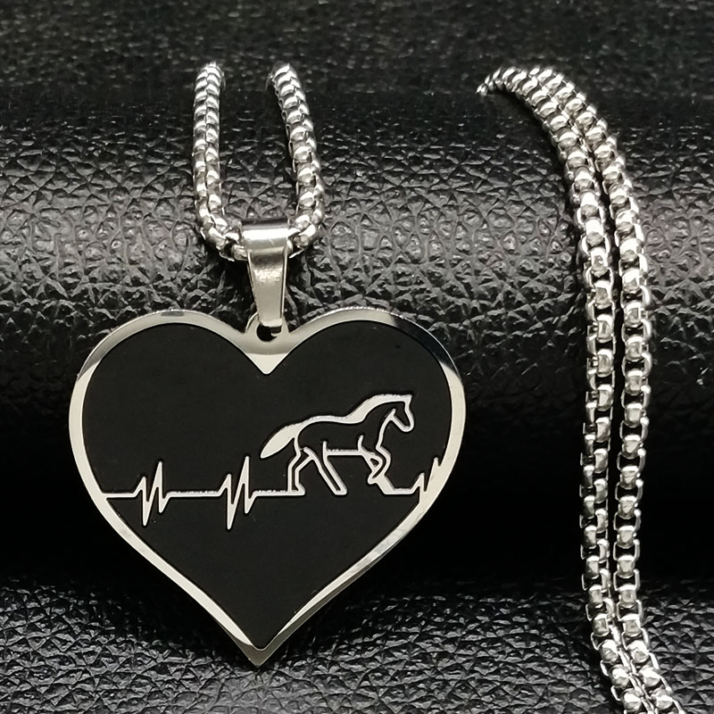 2018 Fashion Horse Stainless Steel Choker Necklace for Men Silver Color Black Heart Necklace Jewelry colgante hombre N18315