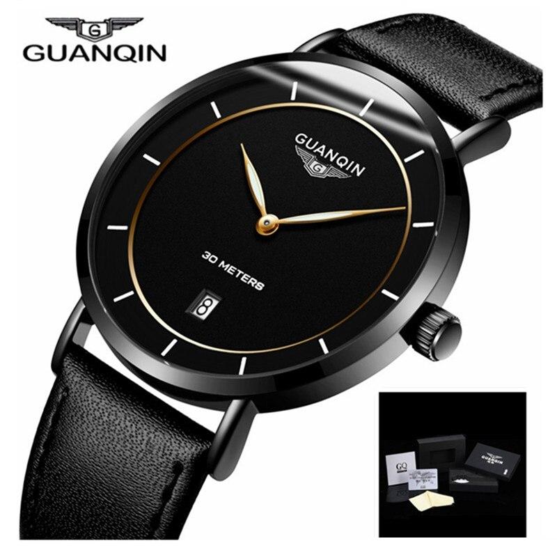 Men Watches GUANQIN Watch Men Brand Luxury Ultra Thin Quartz Watch Leather Waterproof Clock Mens Wristwatches
