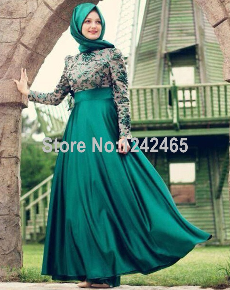 Sheath Arabic Evening Dress Long Sleeve Floor Length Long Hijab ...