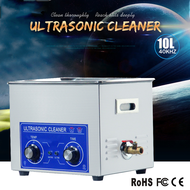 10L industrial ultrasonic cleaning equipment for parts washing like screw,gear or bearing with timer and heater.discount