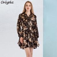 ONLY PLUS Beach Print Short Dresses Ruffled Silk Satin Deep V Neck Long Sleeve Women Midi Dress Spring Autumn Casual Vestid