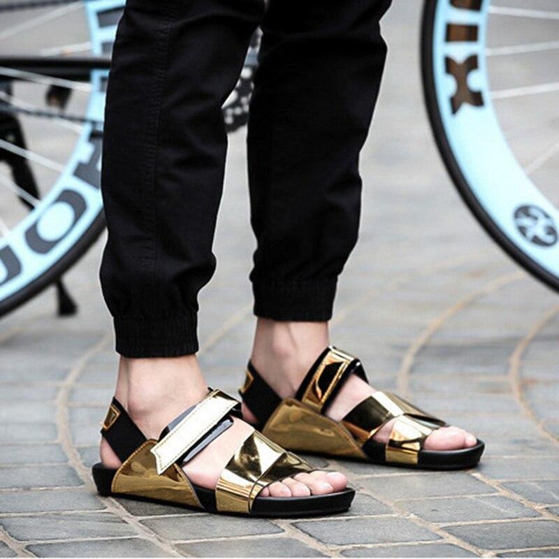 Laamei Summer New Men Sandals Casual Shoes Fashion PU Comfortable Male Flats Shoes Laser Beach Sandals Open Toe Sandalias Men