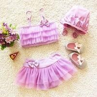 EMS DHL Free Shipping Kid Stylish Baby Girls Ruffles Tiers Tulle Swimsuit Bathsuit Beachwear Swimwear 2