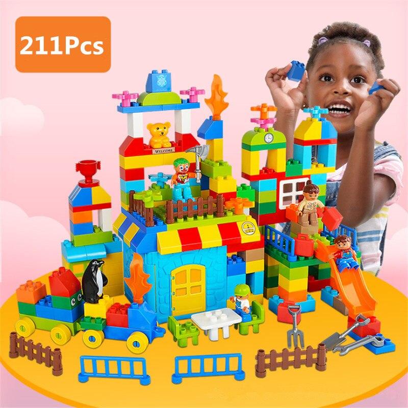 211Pcs Amusement Park Big Size Building Blocks Marble Run Legoingly Duploed Blocks Toys Track DIY Educational Toys for Children