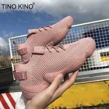Женские сетчатые кроссовки на плоской подошве; сезон весна; Вулканизированная женская обувь на шнуровке из эластичной ткани; повседневная обувь на платформе; модная женская дышащая обувь