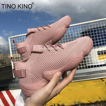 Women Sneakers Mesh Flat Autumn Vulcanized Ladies Lace Up Stretch Fabric Platform Casual Shoes Female Breathable Fashion