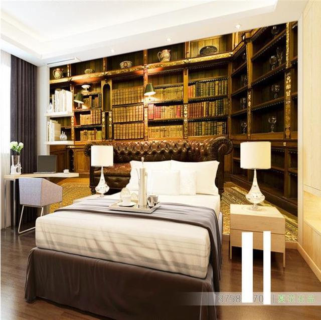 Benutzerdefinierte 3d Wandbild Tapete Europäischen Stil Bücherregal Tapete  Wohnzimmer Sofa Bücherregal Bibliothek Tapete Wandbild