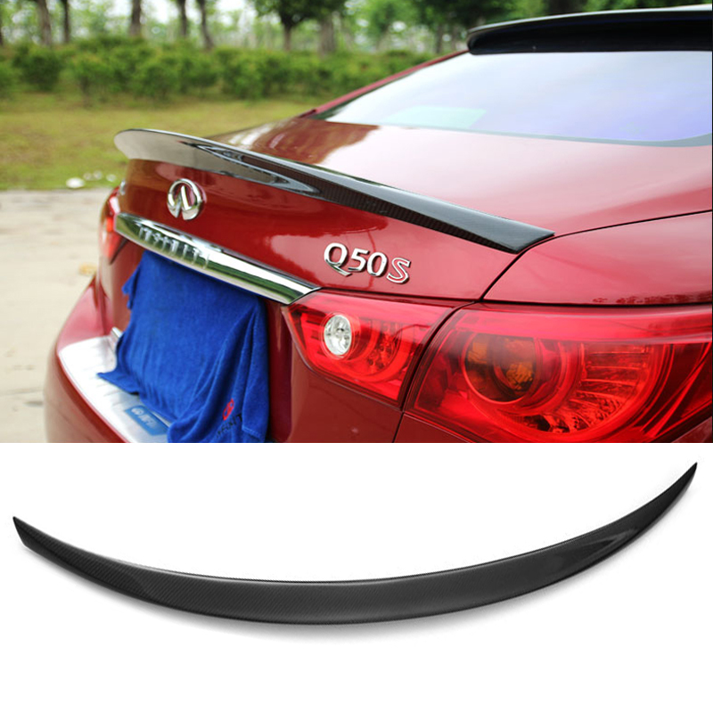 For Infiniti Q50 Q50S Spoiler 2014 2015 2016 2017 Car Trunk Decoration Tail Wing Black Carbon Fiber Rear Wing Spoiler утюг philips gc3802 20 2400вт голубой белый