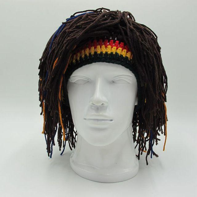 dcdfade94 US $8.76 49% OFF New Rasta Wig Beanie Men's Caps Handmade Crochet Winter  Warm Hat Halloween Xmas Birthday Gifts Funny Hat Party Balaclava-in  Skullies ...