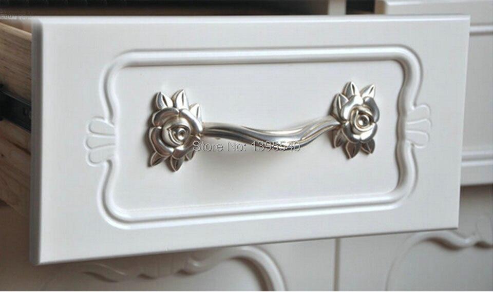 New128mm Zinc Alloy Rose Kitchen Cabinet Handle Antique Cabinet Drawer Handles&Knobs Eur Style