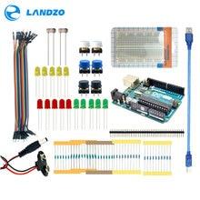 Landzo Arduino 13 в 1 комплект новый starter kit ООН R3 мини Макет LED перемычка и пуговицы Arduino UNO R3 в качестве подарка