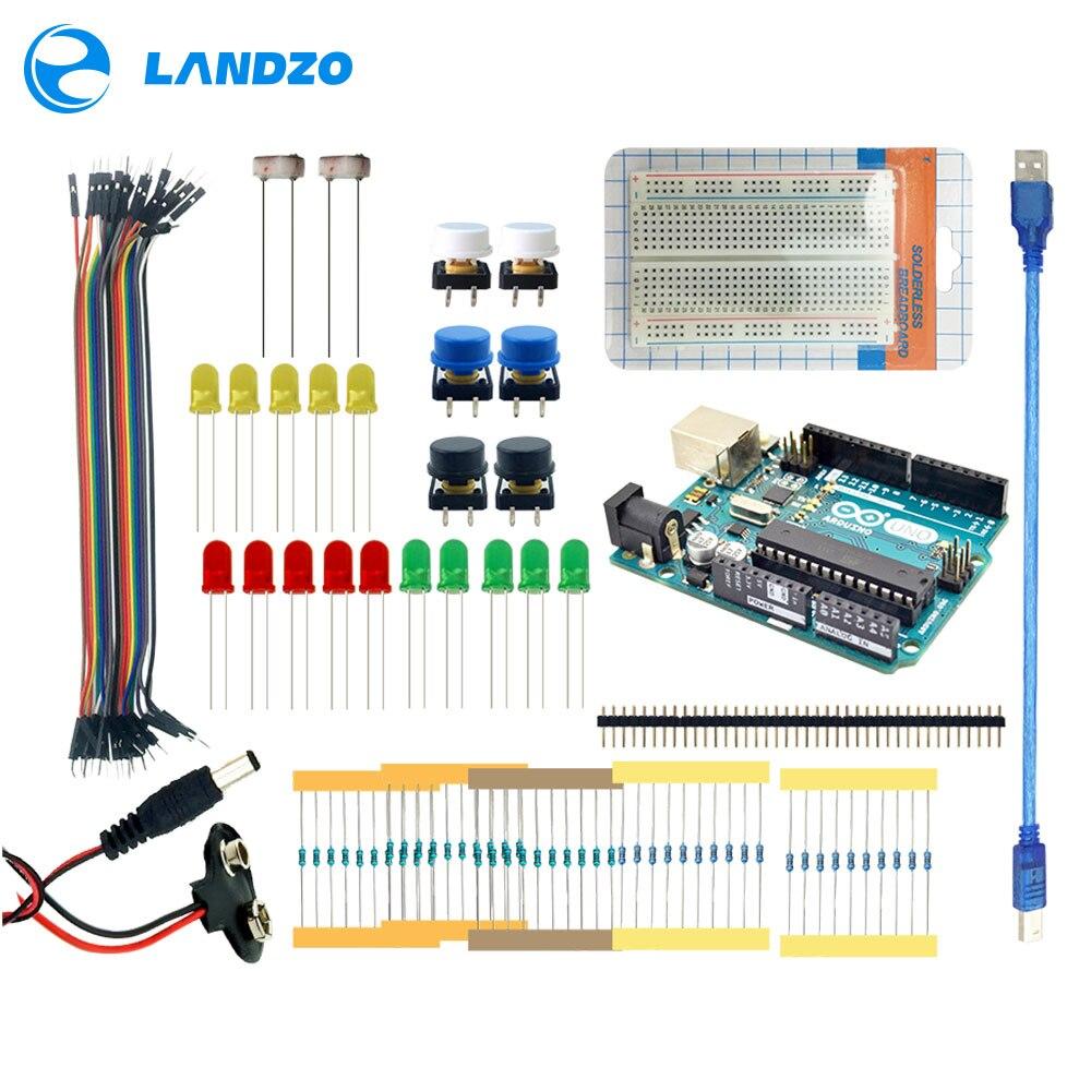 LANDZO Electronic Technology Co.,Ltd Landzo Arduino 13 в 1 комплект новый starter kit ООН R3 мини Макет LED перемычка и пуговицы Arduino UNO R3 в качестве подарка