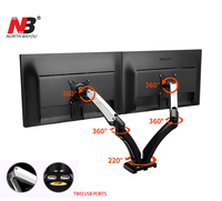 F180 Aluminum Gas Spring Full Motion 17 27 Dual Screen Monitor Holder Desktop Clamping/ Grommet With Two USB Ports