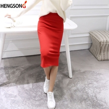 Solid Color Autumn Winter Bodycon skirt women Stretchable Split skirt Mid Calf Slim Pencil skirts for