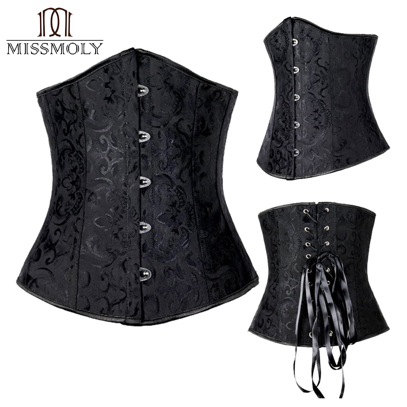 Miss Moly Gothic Underbust <font><b>Sexy</b></font> Corset and Waist Cincher Bustiers Top Workout Body Shaper Belt Plus Size Lingerie Corselet S-<font><b>6XL</b></font> image