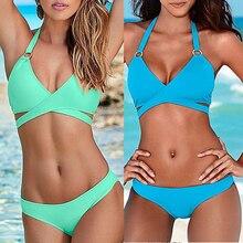 2017 Summer Women Bikinis Set Sexy Halter Bandage Women Swimsuits Brazilian Push Up Bathing Suits Swimwear Sports Monokini