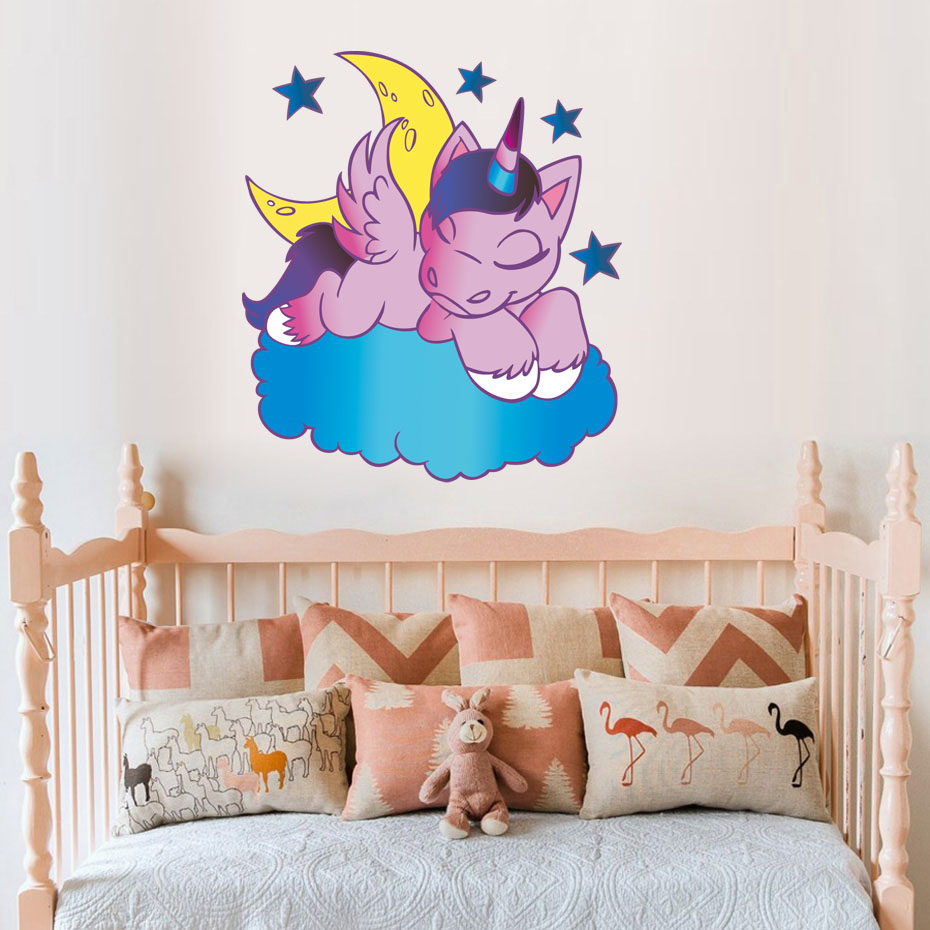 Cartoon Unicorn New Full Color Wall Sticker For Kids Rooms Nursery Vinyl Removable Wallpaper Horse Wall Art Decals Home Decor