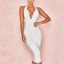 5d5c3a10d805 2019 new shelves summer bandage dress sexy backless V-neck white bandage  dress women's tight