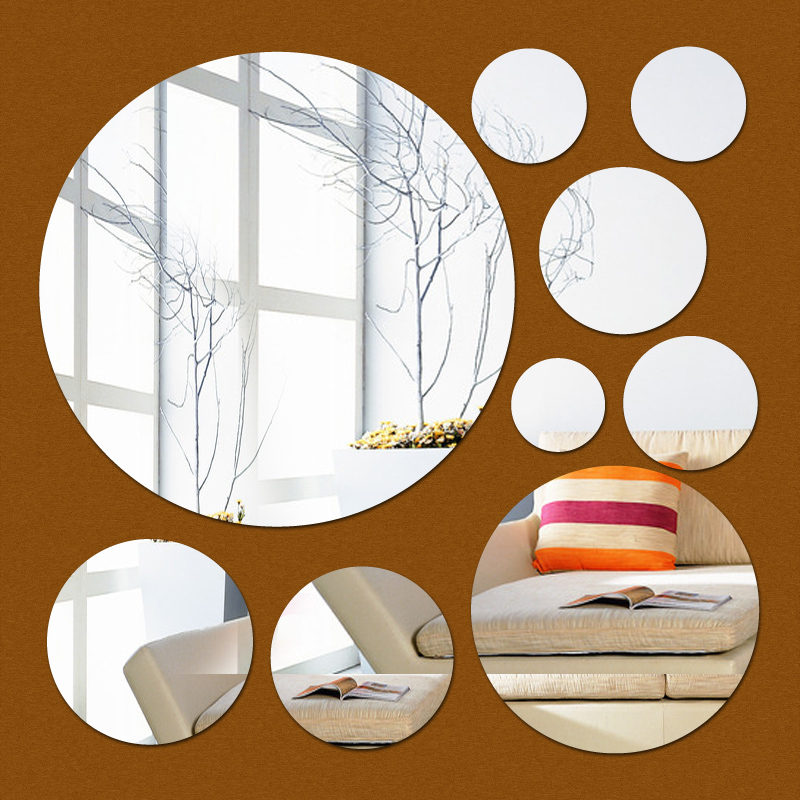 new 2017 hot sale ring real Modern acrylic mirror 3d wall stickers promotion home decoration background decor