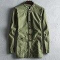 Lençóis de algodão dos homens homens jaqueta único breasted longo casaco estilo chinês dos homens slim fit casuais jaqueta corta-vento casaco macio C37