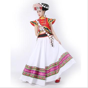 Myanmar Tibet Yunnan Lisu Nationality Dancing Costume China ethnic minority LiSu women Outfit Standard Traditional Handicraft