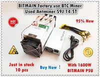 BITMAIN Mining Farm 90%-95% Nuovo AntMiner S9j 14.5T Con Ufficiali PSU BTC BCH Minatore Meglio di S9 s9i 13.5T 14T WhatsMiner M3