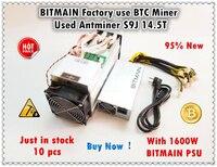 Bitmain exploração de mineração 90%-95% novo antminer s9j 14.5 t com oficial psu btc bch mineiro melhor do que s9 s9i 13.5 t 14 t whatsminer m3