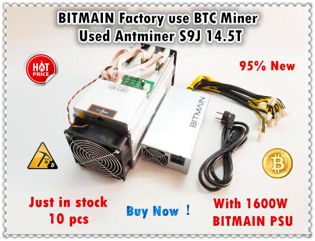 Ferme minière BITMAIN 90%-95% nouveau AntMiner S9j 14.5T avec PSU officiel BTC BCH Miner mieux que S9 S9i 13.5T 14T what sminer M3
