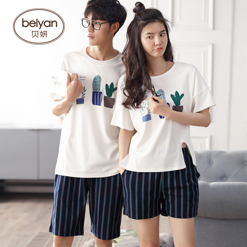 Hot Sale Couple Pajamas Set Summer Men Or Women Short Sleeve Pyjamas Lovers Sleepwear Nightwear Home Clothing(China)