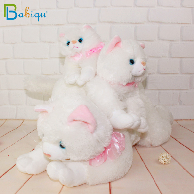 Babiqu 1pc 25cm Simulation Stuffed White Cat Toys Cute Animal Cat with Sound for Kids Toy Birthday Gift Doll Decorations Toys simulation plush sleeping cat with sound lovely lifelike stuffed animal pet doll toy for children birthday gift decoration toy