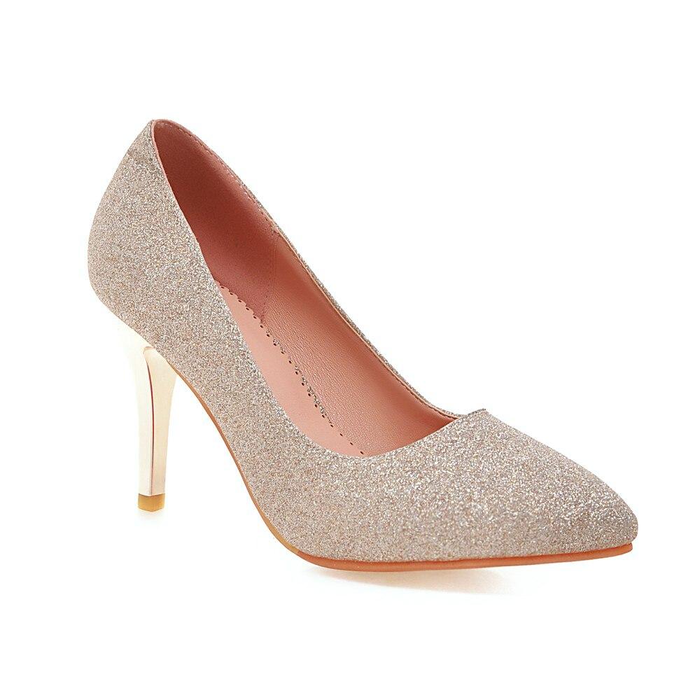De Bling 43 Shiningthrough Bout Slip Chaussures Dames pourpre Bleu Femmes Mariage 34 or Hauts Mode Pompes Sur argent Pointu Taille 2018 Mince Talons À qwyfHwtcXZ
