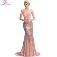 Long Mermaid Evening Dress Women Formal Gowns Sequin Beaded Applique Lace Pink Grace Karin Backless Floor