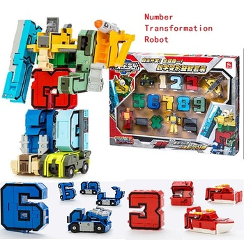 10 Numbers & 5 symbols Magic Transformation Robot Car Tant Helicopter  Assembly Deformation Robot Action Figure Educational toys 21035 lego