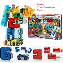 10 Numbers & 5 symbols Magic Transformation Robot Car Tant Helicopter  Assembly Deformation Robot Action Figure Educational toys