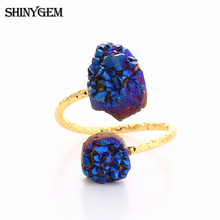 2016 Fashion New Gold Unique Natural Stone Double Quartz Amethyst Crystal White Druzy Adjustable Ring for Women