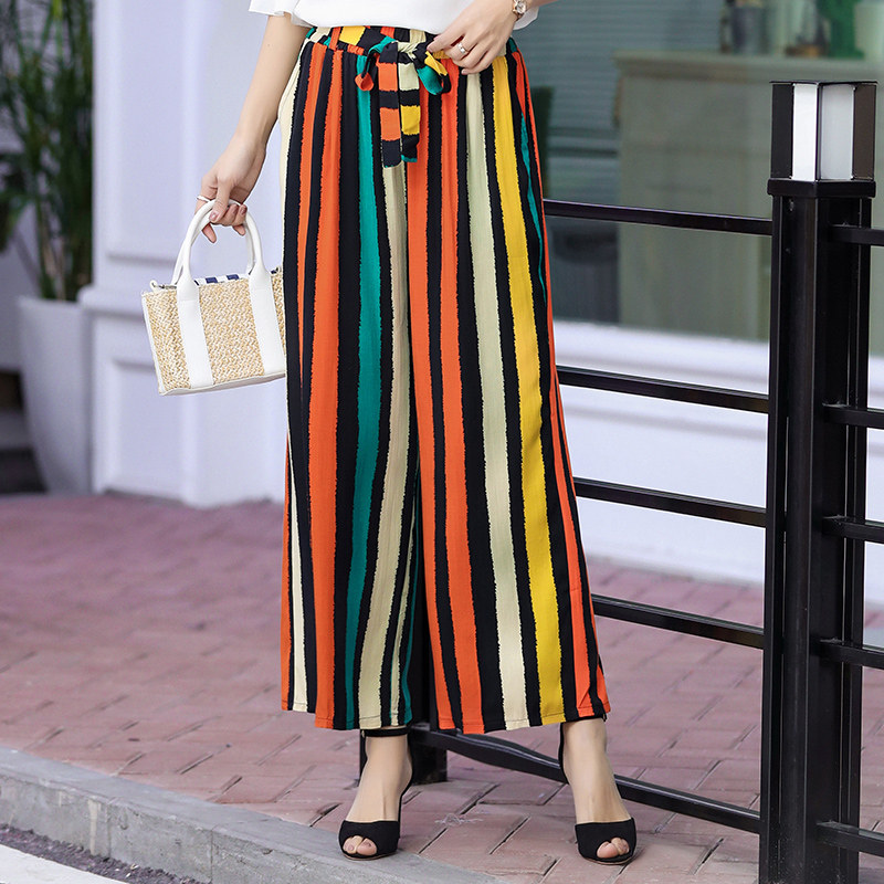 Plus Size XL-5XL Striped Lady   Wide     Leg     Pants   Women Summer Beach High Waist Trousers Chic Streetwear Sash Casual   Pants   Female