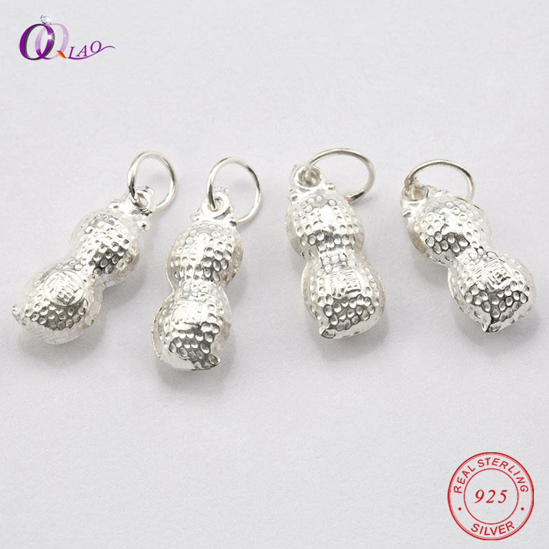 A Pair 14x5mm 925 Sterling Silver Charms Peanut Pendant Silver Lucky Food Pendant For Necklace Jewelry Making DIY