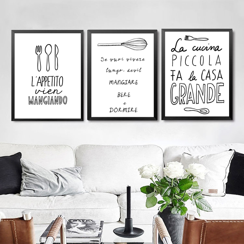 Nero White Wall Decor Pittura Per Camera Canvas Stampa Poster ...