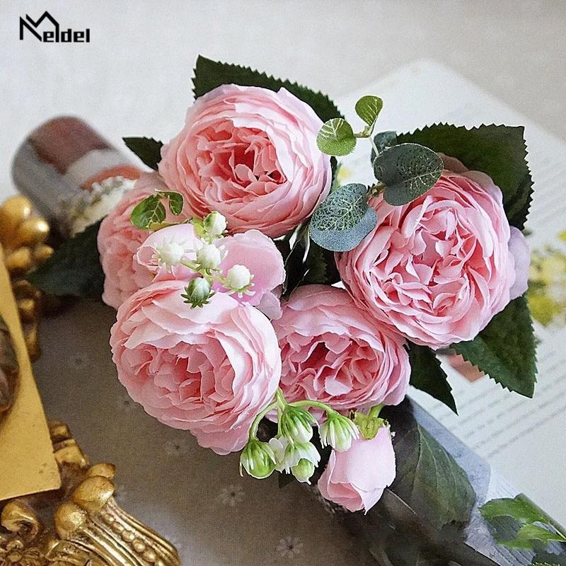 silk flowers artificial peonies bouquet rose wedding home decoration (1)