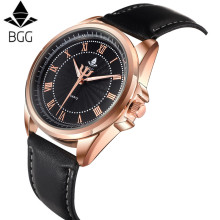 Bgg  2016 Fashion Brand Mens watches Mechanical Automatic Watch Men  Waterproof Roman Number Quartz Clock Genuine Soft Strap