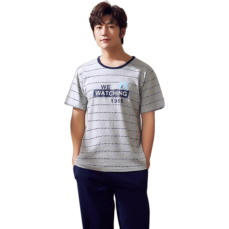 Grey Color Striped Short Shirt Nightwear Men Sleepwear 100% Cotton Mens Pajamas Fashion Big Yards Mens Pyjamas Summer Long Pants